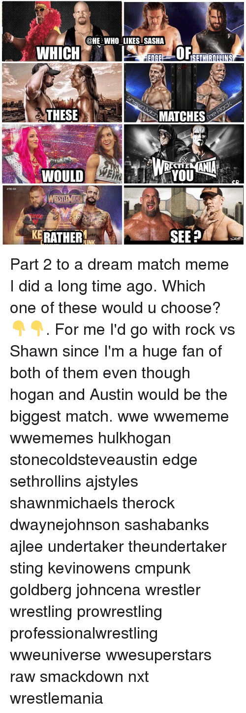 Stingly: @HE WHO LIKES SASHA  OF  THESE  S MATCHES  TID  WOULD  THE 434  KERATHER  SEEP Part 2 to a dream match meme I did a long time ago. Which one of these would u choose?👇👇. For me I'd go with rock vs Shawn since I'm a huge fan of both of them even though hogan and Austin would be the biggest match. wwe wwememe wwememes hulkhogan stonecoldsteveaustin edge sethrollins ajstyles shawnmichaels therock dwaynejohnson sashabanks ajlee undertaker theundertaker sting kevinowens cmpunk goldberg johncena wrestler wrestling prowrestling professionalwrestling wweuniverse wwesuperstars raw smackdown nxt wrestlemania
