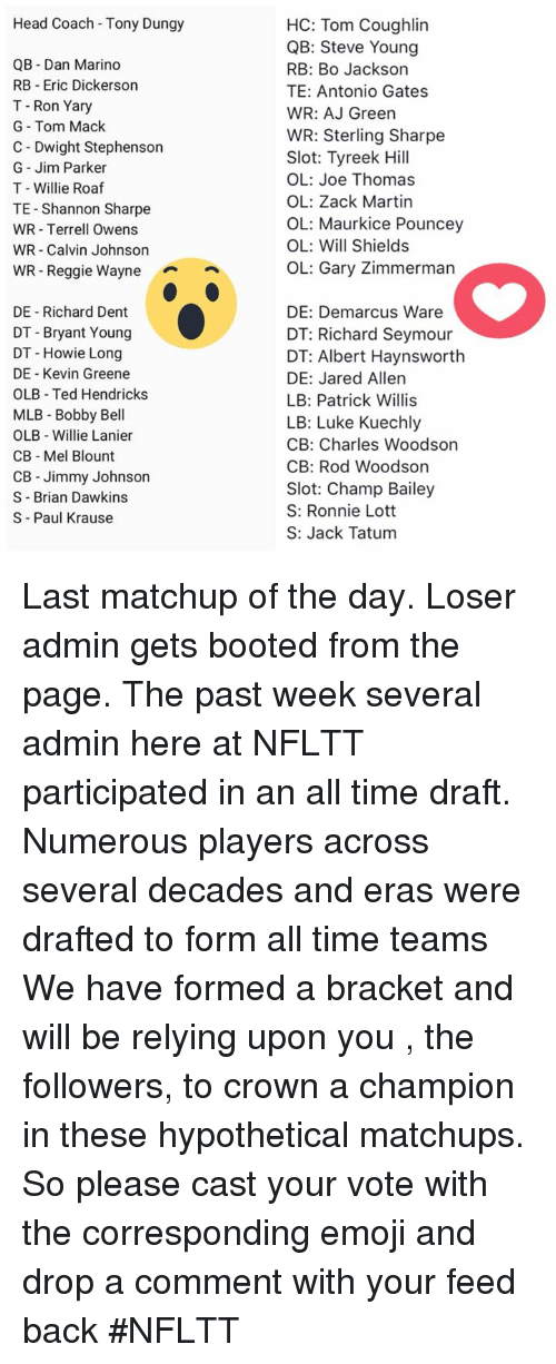 patrick willis: Head Coach Tony Dungy  QB Dan Marino  RB Eric Dickerson  T- Ron Yary  G Tom Mack  C Dwight Stephenson  G- Jim Parker  T - Willie Roaf  TE Shannon Sharpe  WR - Terrell Owens  WR- Calvin Johnson  WR- Reggie Waynen  HC: Tom Coughlin  QB: Steve Young  RB: Bo Jackson  TE: Antonio Gates  WR: AJ Green  WR: Sterling Sharpe  Slot: Tyreek Hill  OL: Joe Thomas  OL: Zack Martin  OL: Maurkice Pouncey  OL: Will Shields  OL: Gary Zimmerman  DE Richard Dent  DT Bryant Young  DT - Howie Long  DE -Kevin Greene  OLB Ted Hendricks  MLB Bobby Bell  OLB Willie Lanier  CB Mel Blount  CB Jimmy Johnson  S Brian Dawkins  S Paul Krause  DE: Demarcus Ware  DT: Richard Seymour  DT: Albert Haynsworth  DE: Jared Allen  LB: Patrick Willis  LB: Luke Kuechly  CB: Charles Woodson  CB: Rod Woodson  Slot: Champ Bailey  S: Ronnie Lott  S: Jack Tatum Last matchup of the day. Loser admin gets booted from the page.   The past week several admin here at NFLTT participated in an all time draft. Numerous players across several decades and eras were drafted to form all time teams   We have formed a bracket and will be relying upon you , the followers, to crown a champion in these hypothetical matchups. So please cast your vote with the corresponding emoji and drop a comment with your feed back #NFLTT