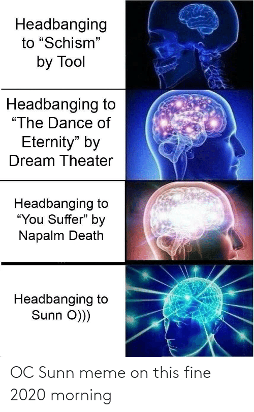 """You Suffer: Headbanging  to """"Schism""""  by Tool  Headbanging to  """"The Dance of  Eternity"""" by  Dream Theater  Headbanging to  """"You Suffer"""" by  Napalm Death  Headbanging to  Sunn O))) OC Sunn meme on this fine 2020 morning"""