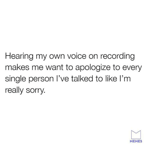 Sorry Memes: Hearing my own voice on recording  makes me want to apologize to every  single person I've talked to like l'm  really sorry.  MEMES