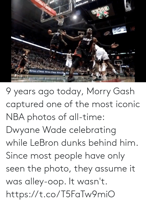 celebrating: HEAT 9 years ago today, Morry Gash captured one of the most iconic NBA photos of all-time: Dwyane Wade celebrating while LeBron dunks behind him.   Since most people have only seen the photo, they assume it was alley-oop. It wasn't.   https://t.co/T5FaTw9miO