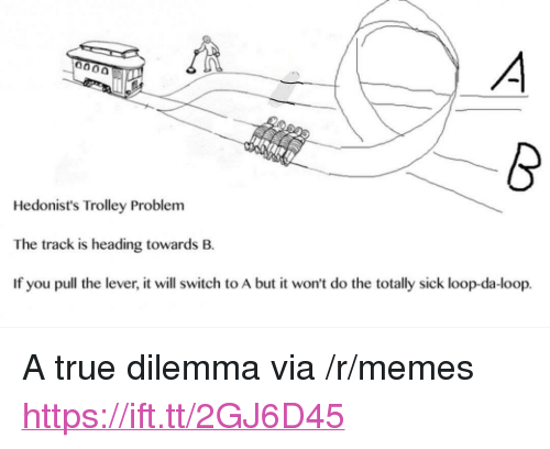 """Trolley: Hedonist's Trolley Problem  The track is heading towards B.  If you pull the lever, it will switch to A but it won't do the totally sick loop-da-loop. <p>A true dilemma via /r/memes <a href=""""https://ift.tt/2GJ6D45"""">https://ift.tt/2GJ6D45</a></p>"""