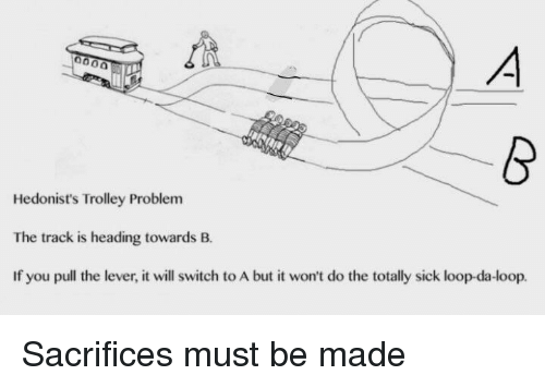 Trolley: Hedonist's Trolley Problem  The track is heading towards B.  If you pull the lever, it will switch to A but it won't do the totally sick loop-da-loop. Sacrifices must be made