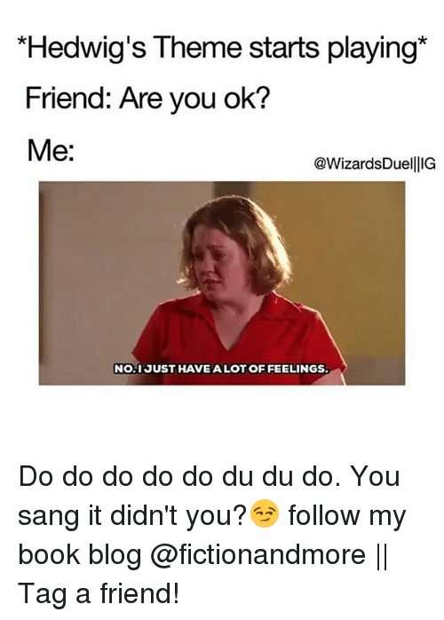Sanged: Hedwig's Theme starts playing*  Friend: Are you ok?  Me:  @WizardsDuellIG  NO.1 JUST HAVE ALOT OF FEELINGS Do do do do do du du do. You sang it didn't you?😏 follow my book blog @fictionandmore || Tag a friend!