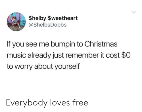 Worry About Yourself: $helby $weetheart  @ShelbsDobbs  If you see me bumpin to Christmas  music already just remember it cost $0  to worry about yourself Everybody loves free