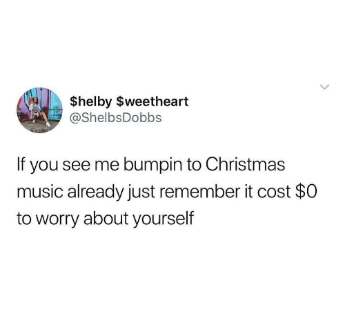 Worry About Yourself: $helby $weetheart  @ShelbsDobbs  If you see me bumpin to Christmas  music already just remember it cost $0  to worry about yourself