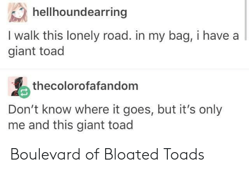 boulevard: hellhoundearring  I walk this lonely road. in my bag, i have a  giant toad  thecolorofafandom  Don't know where it goes, but it's only  me and this giant toad Boulevard of Bloated Toads