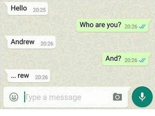 rew: Hello  20:25  Who are you?  20:26  Andrew  20:26  And? 20:26  rew 20:26  O Type a message