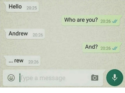 rew: Hello  20:25  Who are you?  20:26  Andrew  20:26  And?  20:26  rew 20:26  ype a message