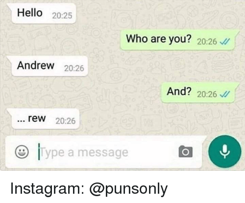 rew: Hello 20:25  Who are you? 20:26  Andrew 20:26  And? 20:26  rew 20:26  e lype a message Instagram: @punsonly