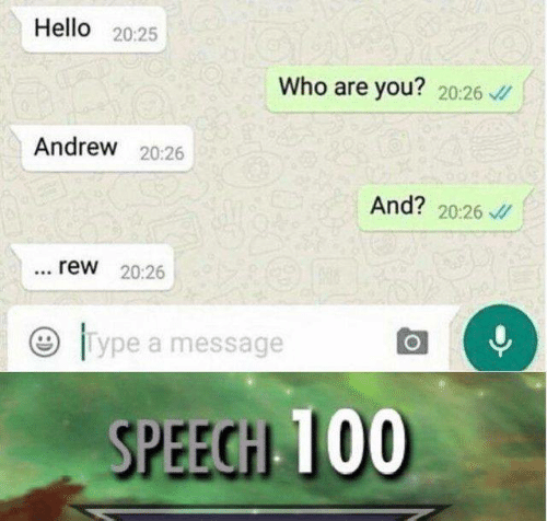 rew: Hello 20:25  Who are you? 20:26  Andrew 20:26  And? 20:26  rew 20:26  lype a message  SPEEGH 100