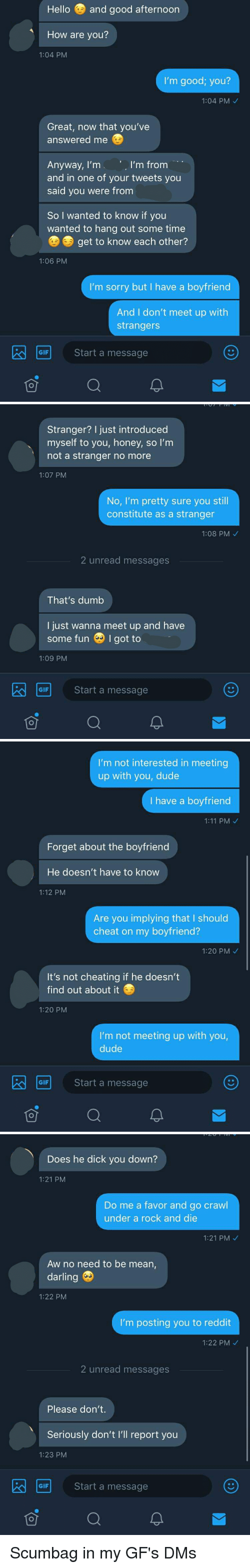 Not Cheating: Hello and good afternoon  How are you?  1:04 PM  I'm good; you?  1:04 PM  Great, now that you've  answered me  I'm from  Anyway, I'm  and in one of your tweets you  said you were from  So I wanted to know if you  wanted to hang out some time  get to know each other?  1:06 PM  I'm sorry but I have a boyfriend  And I don't meet up with  strangers  GIF  Start a message   Stranger? I just introduced  myself to you, honey, so I'm  not a stranger no more  1:07 PM  No, I'm pretty sure you still  constitute as a stranger  1:08 PM  2 unread messages  That's dumb  I just wanna meet up and have  some fun I got to  1:09 PM  GIF  Start a message   I'm not interested in meeting  up with you, dude  I have a boyfriend  1:11 PM  Forget about the boyfriend  He doesn't have to know  1:12 PM  Are you implying that I should  cheat on my boyfriend?  1:20 PM  It's not cheating if he doesn't  find out about it  1:20 PM  I'm not meeting up with you,  dude  Start a message  GIF   Does he dick you down?  1:21 PM  Do me a favor and go crawl  under a rock and die  1:21 PM  Aw no need to be mean,  darling  1:22 PM  I'm posting you to reddit  1:22 PM  2 unread messages  Please don't.  Seriously don't I'll report you  1:23 PM  Start a message  GIF  可 Scumbag in my GF's DMs