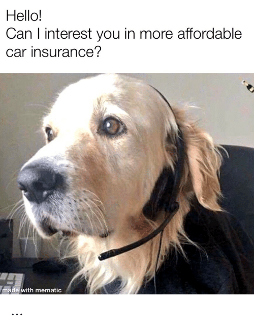 Hello, Car, and Insurance: Hello!  Can I interest you in more affordable  car insurance?  made with mematic …