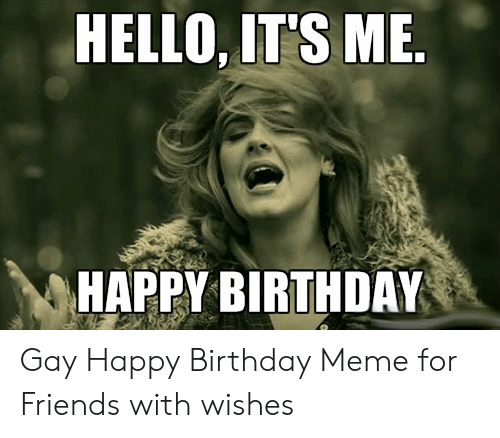 Birthday, Friends, and Hello: HELLO, IT'S ME  HAPPY BIRTHDAY Gay Happy Birthday Meme for Friends with wishes