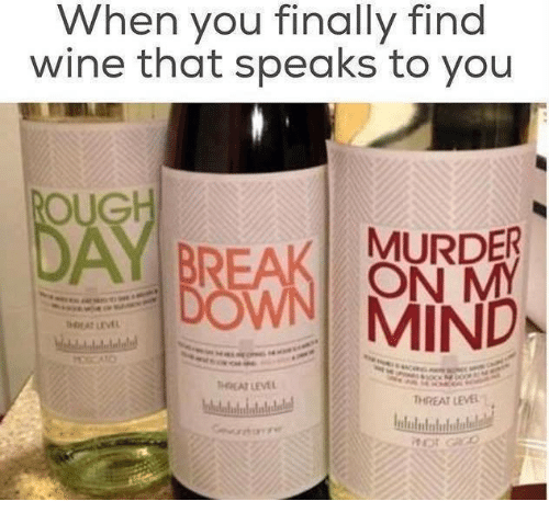 Oug: hen you finally find  wine that speaks to you  OUG  MURDER  ON M  DON MIND  A LEVEL  A LEV  THREAT LEVEL