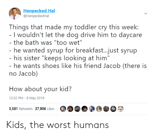 "Shoes, The Worst, and Breakfast: Henpecked Hal  @HenpeckedHal  Things that made my toddler cry this week:  I wouldn't let the dog drive him to daycare  the bath was ""too wet""  he wanted syrup for breakfast...just syrup  his sister ""keeps looking at him""  he wants shoes like his friend Jacob (there is  no Jacob)  How about your kid?  12:32 PM - 8 May 2019  3,581 Retweets 37,906 Likes Kids, the worst humans"