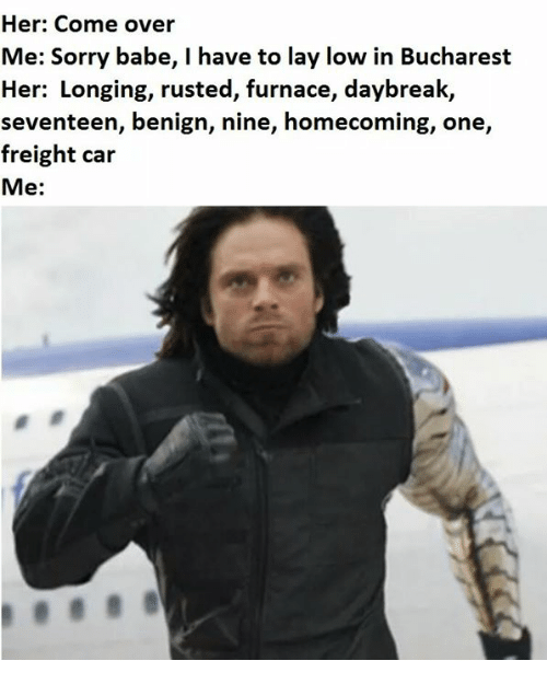 Come Over, Memes, and Sorry: Her: Come over  Me: Sorry babe, I have to lay low in Bucharest  Her: Longing, rusted, furnace, daybreak,  seventeen, benign, nine, homecoming, one,  freight car  Me: