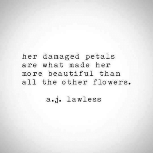 petal: her damaged petal:s  are what made her  more beautiful than  all the other flowers  a.j. lawless