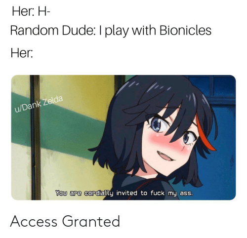 Ass, Dude, and Access: Her. H  Random Dude: I play with Bionicles  Her  nk zelda  u/Dan  You are cordially invited to fuck my ass. Access Granted