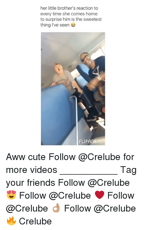 Awwe: her little brother's reaction to  every time she comes home  to surprise him is the sweetest  thing I've seen  FLIPAGRAW Aww cute Follow @Crelube for more videos ___________ Tag your friends Follow @Crelube 😍 Follow @Crelube ❤ Follow @Crelube 👌🏽 Follow @Crelube 🔥 Crelube