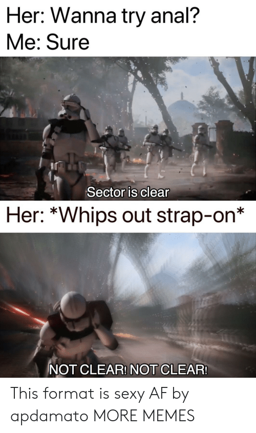 "Af, Dank, and Memes: Her: Wanna try anal?  Me: Sure  Sector is clear  Her: ""Whips out strap-on  NOT CLEAR! NOT CLEAR This format is sexy AF by apdamato MORE MEMES"