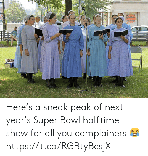 Super Bowl: Here's a sneak peak of next year's Super Bowl halftime show for all you complainers 😂 https://t.co/RGBtyBcsjX
