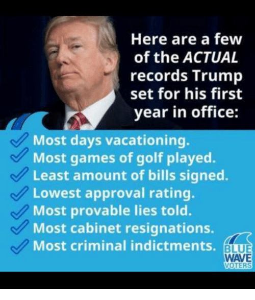 Games, Golf, and Office: Here are a few  of the ACTUAL  records Trump  set for his first  year in office:  Most days vacationing.  Most games of golf played.  Least amount of bills signed.  Lowest approval rating.  Most provable lies told.  Most cabinet resignations.  Most criminal indictments. BU  WAVE  VOTERS