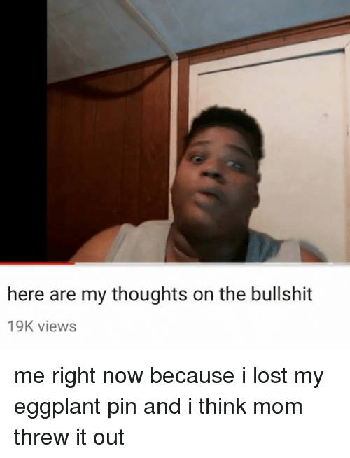 Memes, Lost, and Mom: here are my thoughts on the bullshit  19K views me right now because i lost my eggplant pin and i think mom threw it out