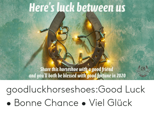 A Good Friend: Here's luck betuween us  LUCK  Share this horseshoe with a good friend  and you'll both be blessed with good fortune in 2020  HORSESHOES goodluckhorseshoes:Good Luck • Bonne Chance • Viel Glück