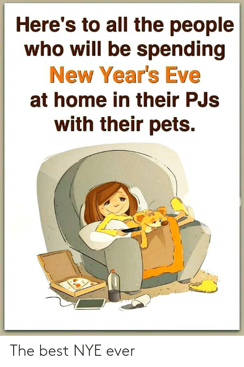 Spending: Here's to all the people  who will be spending  New Year's Eve  at home in their PJs  with their pets. The best NYE ever