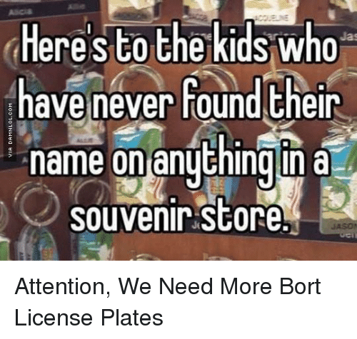 Memes, Kids, and Never: Here's to the kids who  have never found their  name on anythingin a  souvenir Store Attention, We Need More Bort License Plates