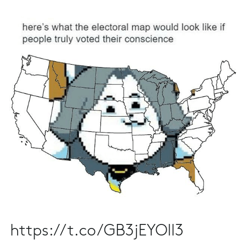 Electoral: here's what the electoral map would look like if  people truly voted their conscience https://t.co/GB3jEYOll3