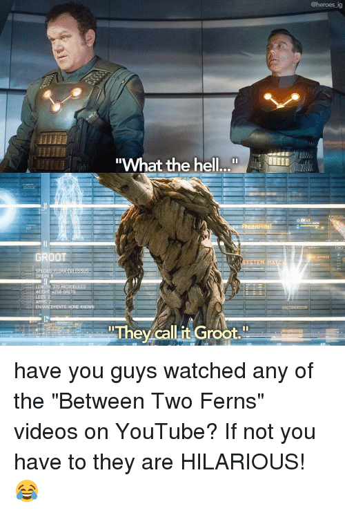 """youtubed: @heroes ig  What the hell  OEM  GERPRI  GROOT  ACTIVATED  STEM  LORA edt assus-  ORIGIN: X  LENGTH 370 MICROBULES  WEIGHT 4258 GRET  LEGS: 2  ARMS: 2  ENHANCEMENTS NONE KNOWN  They callit Groot."""" have you guys watched any of the """"Between Two Ferns"""" videos on YouTube? If not you have to they are HILARIOUS! 😂"""