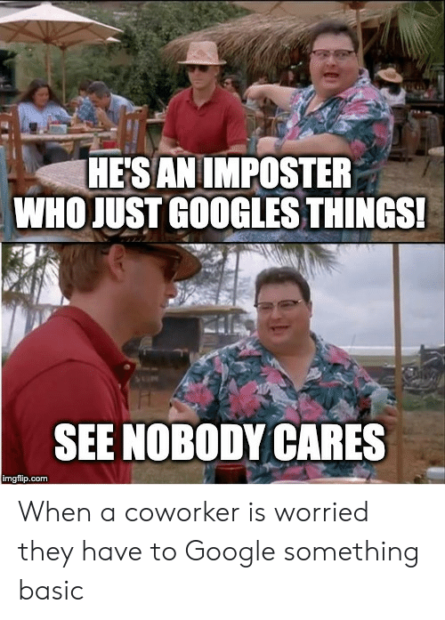 Google, Com, and Who: HESAN IMPOSTER  WHO JUST GOOGLES THINGS!  SEE NOBODY CARES  imgflip.com When a coworker is worried they have to Google something basic