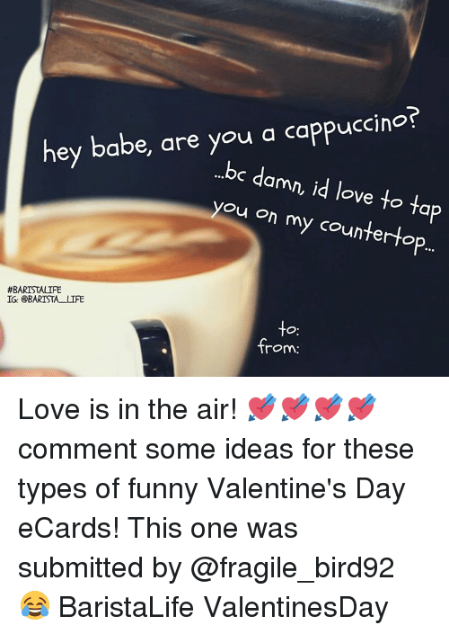 cappuccino: hey babe, are you a cappuccino?  ...bc d  amn, id love to ta  you on my counter to  #BARISTALIFE  IG: BARISTA LIFE  -to  from: Love is in the air! 💘💘💘💘 comment some ideas for these types of funny Valentine's Day eCards! This one was submitted by @fragile_bird92 😂 BaristaLife ValentinesDay