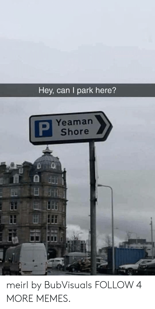 Dank, Memes, and Reddit: Hey, can I park here?  Yeaman  P  Shore meirl by BubVisuals FOLLOW 4 MORE MEMES.