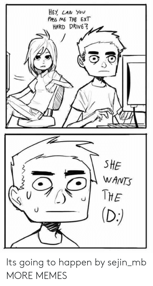 the d: HEY CAN You  PASS ME THE EXT  HARD DRIVE?  SHE  WANTS  THE  (D:) Its going to happen by sejin_mb MORE MEMES
