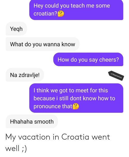 Smooth, Croatia, and How To: Hey could you teach me some  croatian?  Yeqh  What do you wanna know  How do you say cheers?  u/Keepventure  Na zdravlje!  I think we got to meet for this  because i still dont know how to  pronounce that  Hhahaha smooth My vacation in Croatia went well ;)
