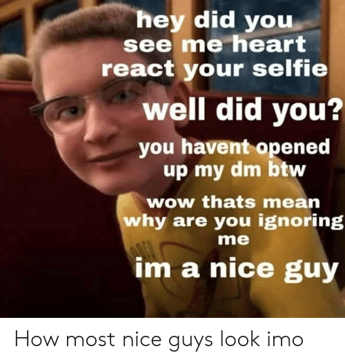 Selfie, Wow, and Heart: hey did you  see me heart  react your selfie  well did you?  you havent opened  up my dm btw  wow thats mean  why are you ignoring  me  im a nice guy How most nice guys look imo