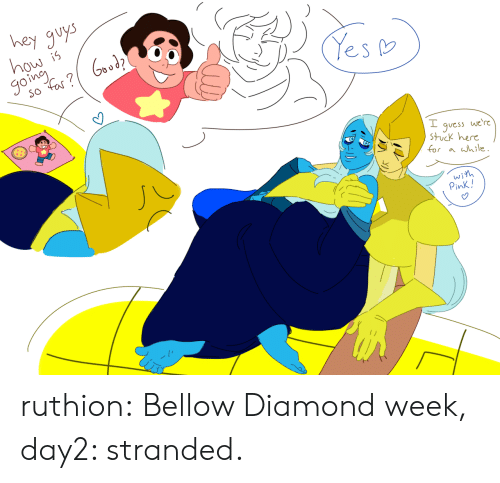 hey guys: hey guys  how is  goine  Yes  so Far?  we're  guess  Stuck here  for a hile.  wih  Pink! ruthion:  Bellow Diamond week, day2: stranded.