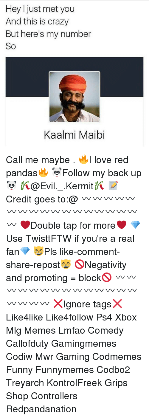 I Just Met You And This Is Crazy: Hey I just met you  And this is crazy  But here's my number  So  Kaalmi Maibi Call me maybe . 🔥I love red pandas🔥 🐼Follow my back up🐼 🎋@Evil._.Kermit🎋 📝Credit goes to:@ 〰〰〰〰〰〰〰〰〰〰〰〰〰〰〰〰〰〰 ❤️Double tap for more❤️ 💎Use TwisttFTW if you're a real fan💎 😸Pls like-comment-share-repost😸 🚫Negativity and promoting = block🚫 〰〰〰〰〰〰〰〰〰〰〰〰〰〰〰〰〰〰 ❌Ignore tags❌ Like4like Like4follow Ps4 Xbox Mlg Memes Lmfao Comedy Callofduty Gamingmemes Codiw Mwr Gaming Codmemes Funny Funnymemes Codbo2 Treyarch KontrolFreek Grips Shop Controllers Redpandanation