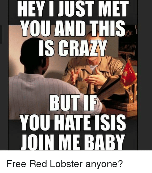 I Just Met You And This Is Crazy: HEY I JUST MET  YOU AND THIS  IS CRAZY  BUTIF  YOU HATE ISIS  JOIN ME BABY Free Red Lobster anyone?
