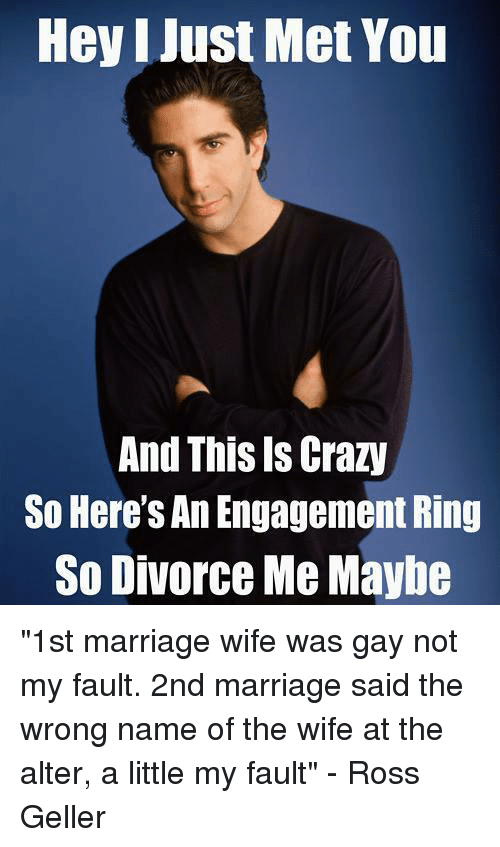 """i just met you: Hey I Just Met You  And This Is Crazy  So Here's An Engagement Ring  So Divorce Me Maybe """"1st marriage wife was gay not my fault. 2nd marriage said the wrong name of the wife at the alter, a little my fault"""" - Ross Geller"""