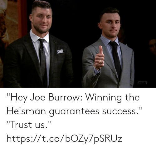 "Sports, Success, and Joe: ""Hey Joe Burrow: Winning the Heisman guarantees success.""  ""Trust us."" https://t.co/bOZy7pSRUz"