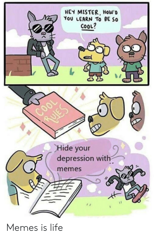 hey mister: HEY MISTER, Howo  You LEARN TO BE So  COOL?  COOL  Hide your  depression with  memes Memes is life
