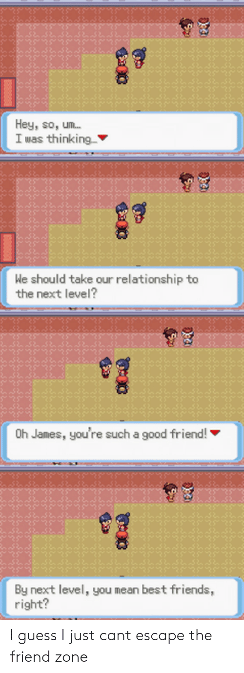 The Friend Zone: Hey, so, um...  I was thinking...  We should take our relationship to  the next level?  8  Oh James, you're such a good friend!  By next level, you mean best friends,  right? I guess I just cant escape the friend zone