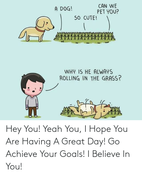 Believe In: Hey You! Yeah You, I Hope You Are Having A Great Day! Go Achieve Your Goals! I Believe In You!