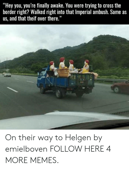 """Theif: """"Hey you, you're finally awake. You were trying to cross the  border right? Walked right into that Imperial ambush. Same as  us, and that theif over there."""" On their way to Helgen by emielboven FOLLOW HERE 4 MORE MEMES."""