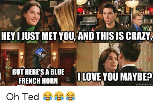 And This Is Crazy: HEYI JUST MET YOU, AND THIS IS CRAZY  BUT HERES A BLUE  LOVE YOU MAYBEP  FRENCH HORN  quickmeme com Oh Ted 😂😂😂