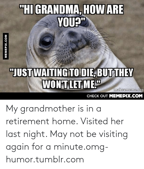 "Her Last: ""HI GRANDMA, HOW ARE  YOU?""  ""JUST WAITING TO DIE, BUT THEY  WON'T LET, ME.""  makeameme.org  CHECK OUT MEMEPIX.COM  MEMEPIX.COM My grandmother is in a retirement home. Visited her last night. May not be visiting again for a minute.omg-humor.tumblr.com"